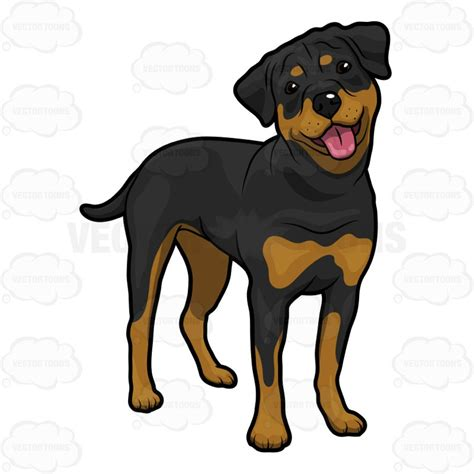 rottweiler clipart black wagging tongue vector clip