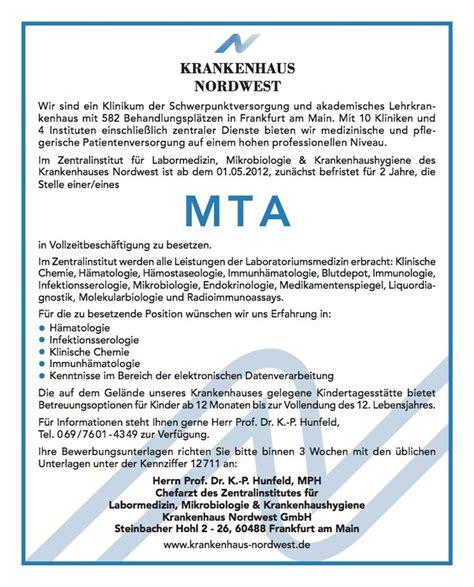 Bewerbung Muster Mta Stellenangebot Mta In Frankfurt Am