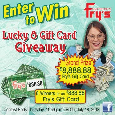 Fry Electronics Gift Card - fry s lucky 8 gift card sweepstakes