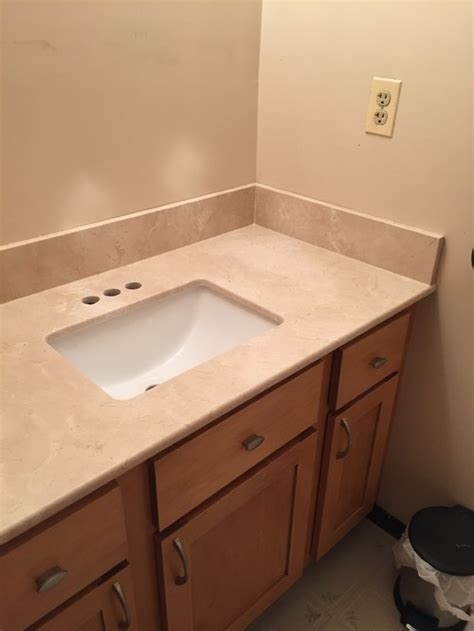 how to install bathroom vanity against wall three wall vanity back side splashes
