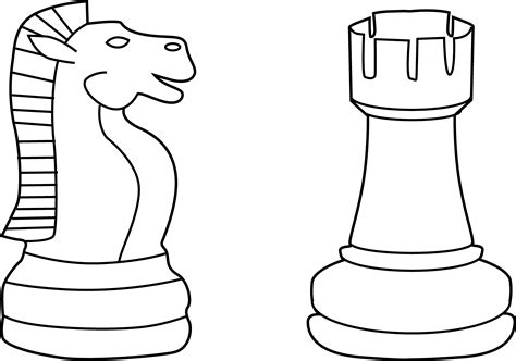 Chess Pieces Outline by Free Chess Coloring Pages