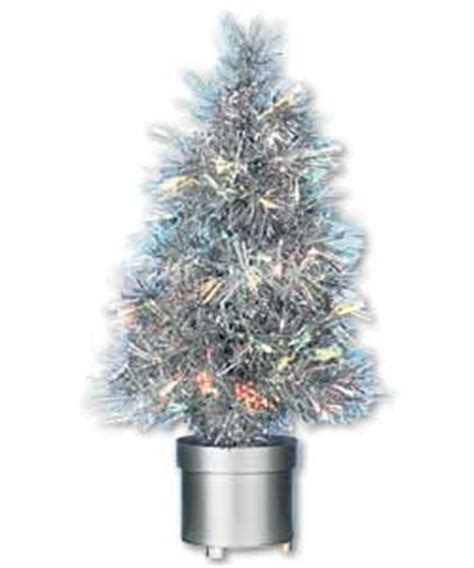 60cm silver tinsel revolving fibre optic christmas tree
