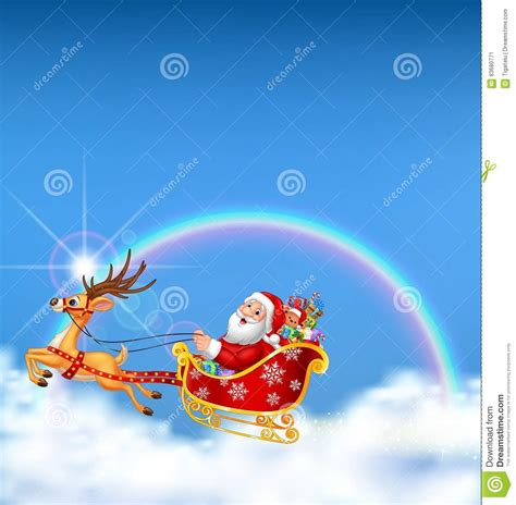 happy santa   christmas sled  pulled  reindeer  cloudy rainbow background stock