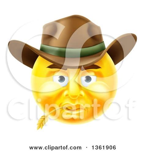 clipart of a 3d yellow male cowboy smiley emoji emoticon