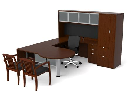 Desk Furniture by Of4s P Shaped U Desk With Hutch And Pedestal 72 Quot W X 98 Quot D
