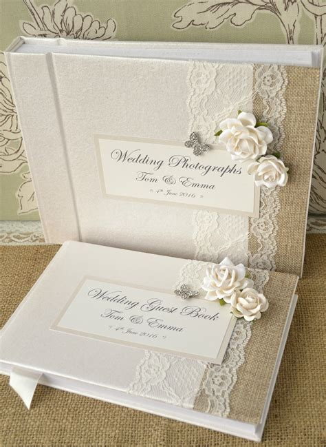 photo picture book luxury personalised wedding guest book album set lace