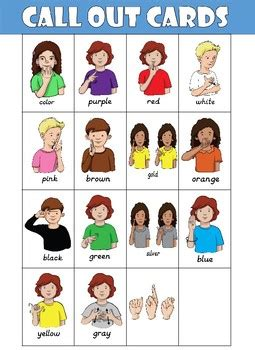 sign language for colors colors in asl flash cards colors asl teaching resources