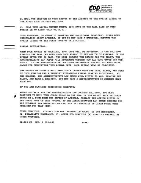 Edd Appeal Letter by Edd Appeal Letter Okl Mindsprout Co