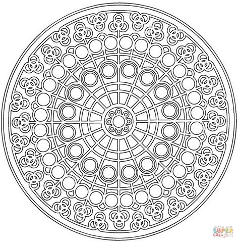 celtic mandala with circle pattern coloring page free