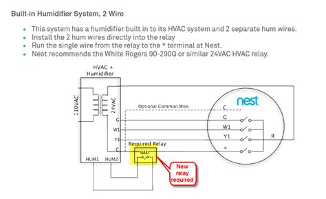 nest thermostat humidifier wiring humidifier to furnace