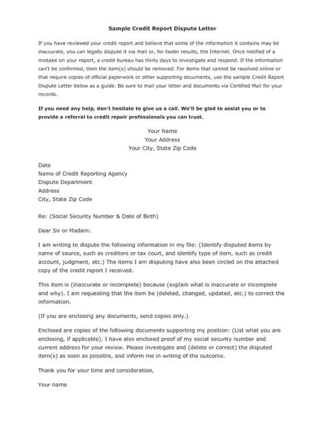 Sle Letter Dispute Bad Credit Credit Report Dispute Letter Template Credit Repair Secrets Exposed Here Credit Repair
