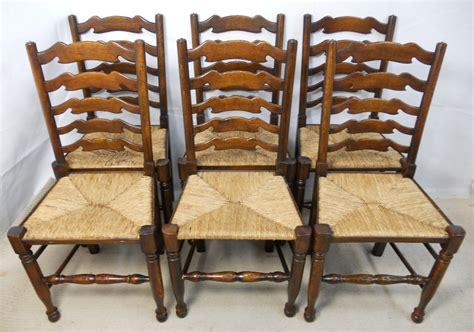 G Plan Armchairs Set Of Eight Elm Ladderback Rush Seat Dining Chairs Sold