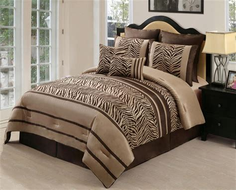 8pc zambia chocolate brown zebra print comforter set queen