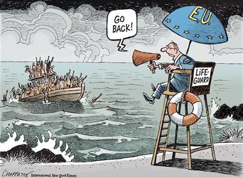 political cartoons on the economy cartoons us news refugee crisis in the mediterranean european lifeguard