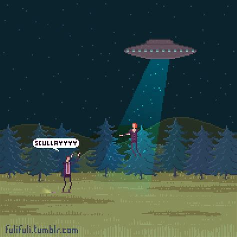 X Files With The Lights On by Animated Gif Pixel Ufo Scully X Files Fox