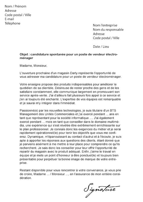 Lettre De Motivation Candidature Spontanée Magasin Lettre De Motivation Darty Vendeur 233 Lectrom 233 Nager