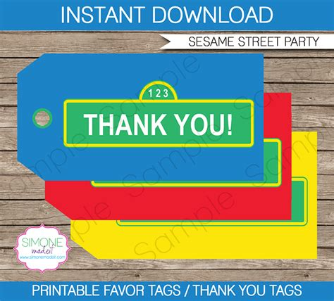 sesame street birthday party favor tags thank you tags