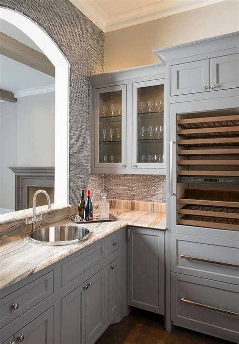 gray butlers pantry  arched pass  window
