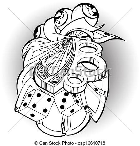 clipart of tattoo bones and playing cards csp16610718