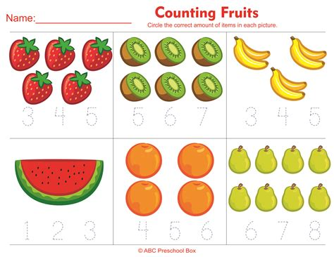 new year math activities for preschoolers counting fruits preschool math worksheet from