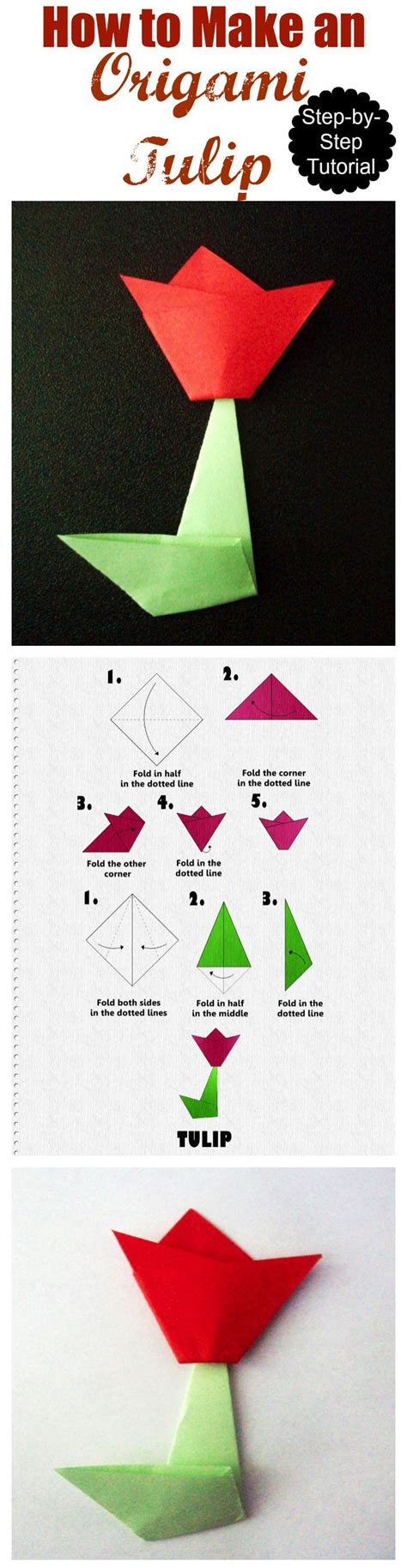 Origami For Adults - how to make an origami tulip step by step tutorial