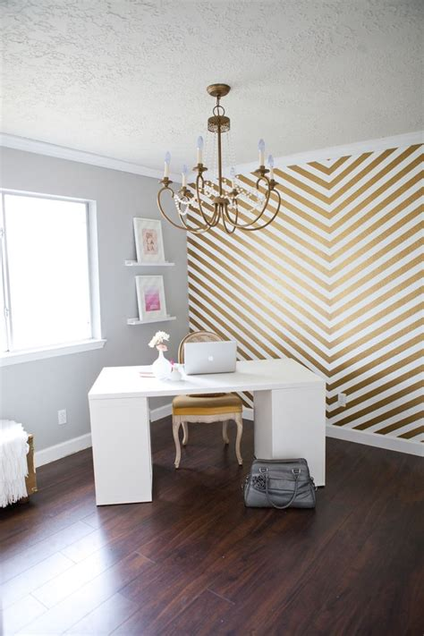 gold chevron accent wall for the home - Office Accent Wall