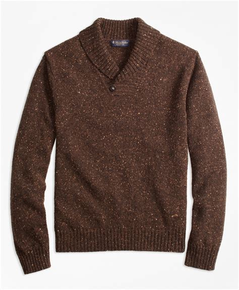 brown pattern sweater donegal shawl collar sweater brooks brothers