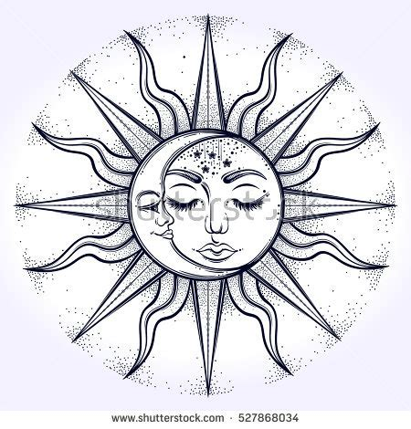bohemian hand drawn sun moon vector stock vector 527868034