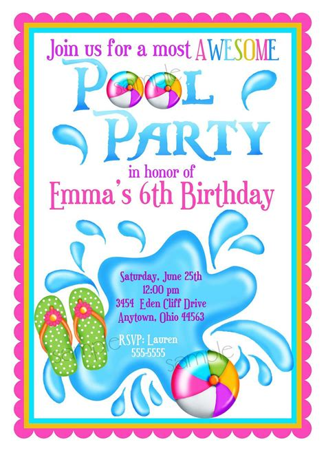 pool party invitation template card kids fun in pool stock vector