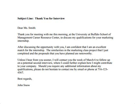 Post Interview Thank You Email 6 Free Sample Example