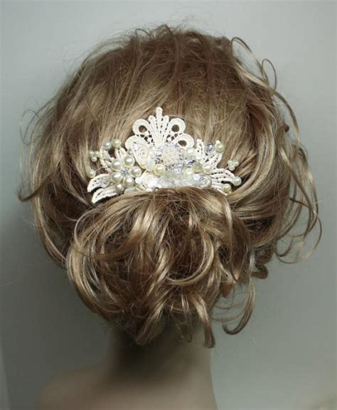 Vintage Inspired Wedding Hair Pieces by Ivory Bridal Hairpiece Rhinestone Pearl Hair Comb