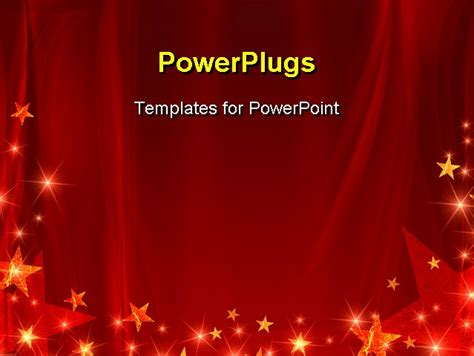 red background with stars and curve line PowerPoint