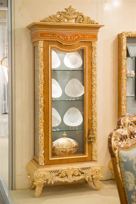 luxurious wooden carving showcase cabinet using clear display cabinet with 1 door in carved wood for living