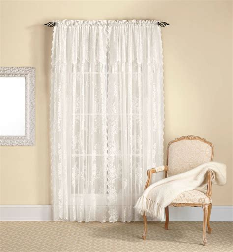 Lace Valance Curtains Lace Curtain Panel With Attached Valance Tassels Assorted Colors Ebay