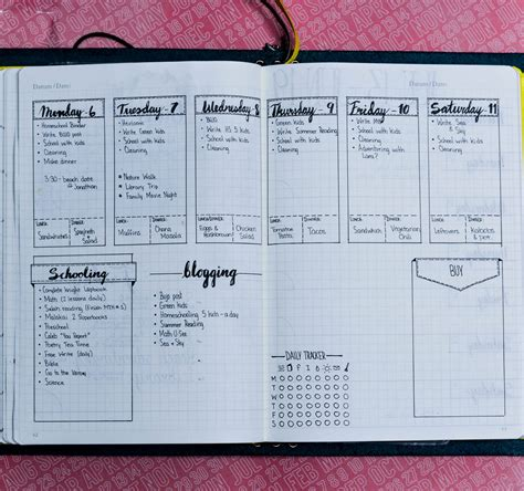 layout design for journal daily weekly and monthly bullet journal layout exles