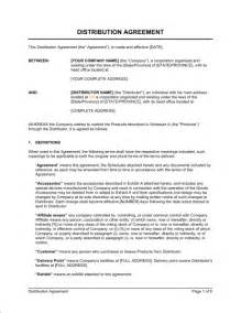distribution agreement template sle form biztree