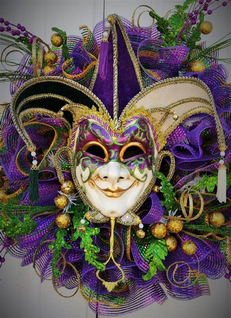 Large Mardi Gras Wreath Mardi Gras Masquerade Wreath Whimsical