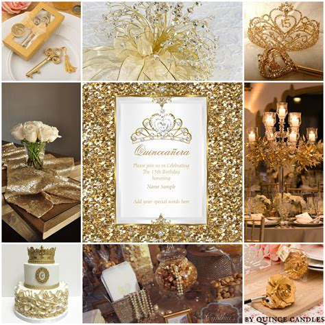 gold quinceanera themes quince candles