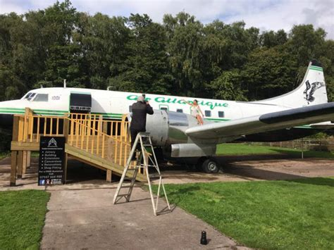 makeup artist turns old airplane into luxury salon in her