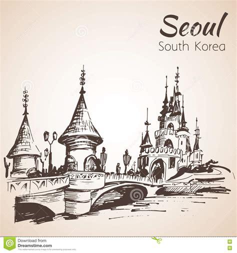 sketchbook korea lotte world recreation complex in seoul south korea stock