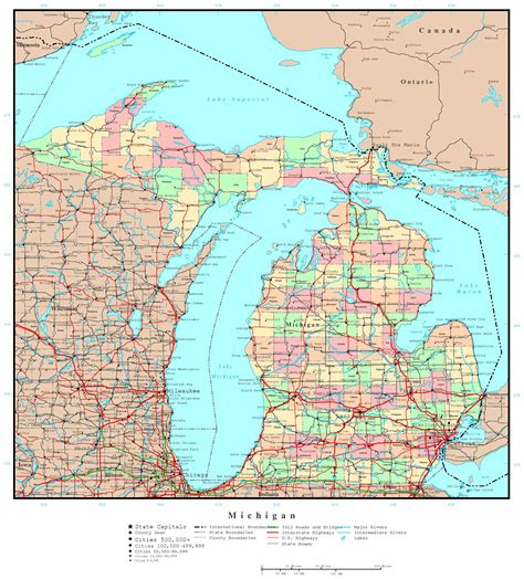 usa map cities states detailed large detailed administrative map of michigan state with