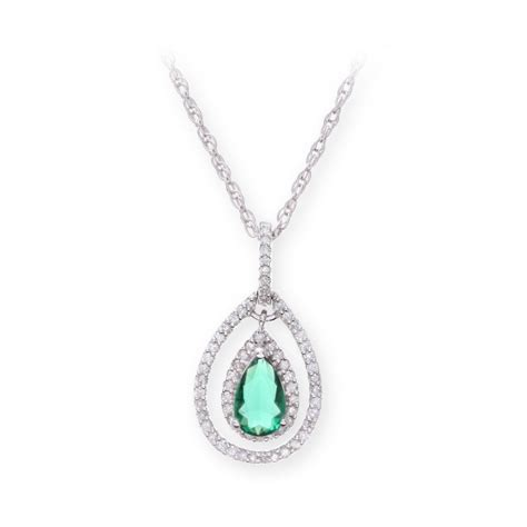sterling silver necklace with emerald gem pendant