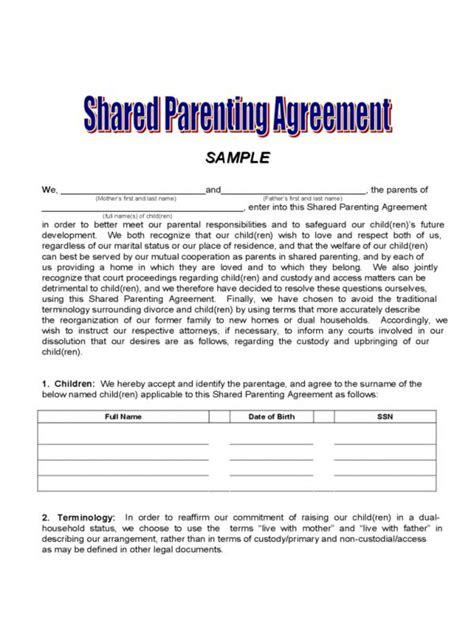 Custody Agreement Template Pa Child Custody Agreement Template Shatterlion Info