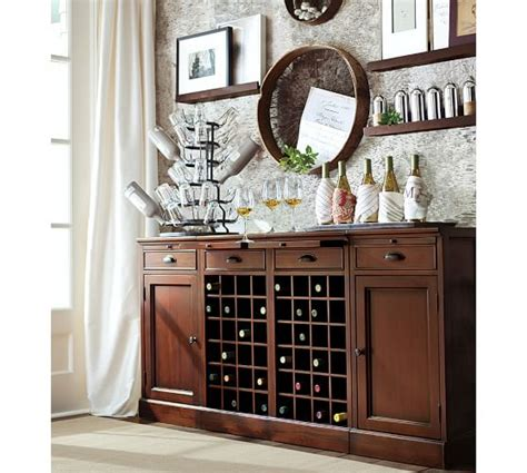 pottery barn wine cabinet modular bar buffet with 2 wine grid bases 2 cabinets