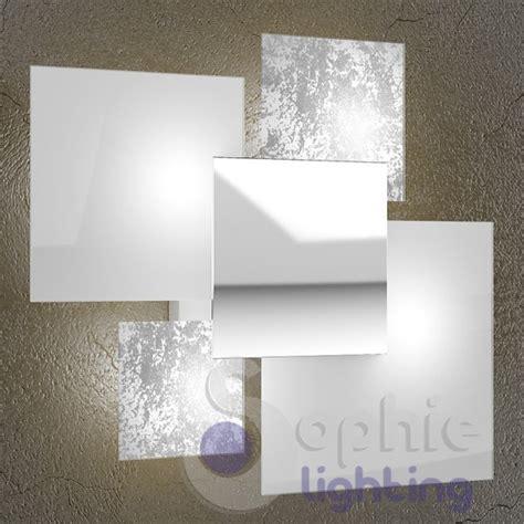 applique soggiorno applique grande muro design moderno foglia argento bianco