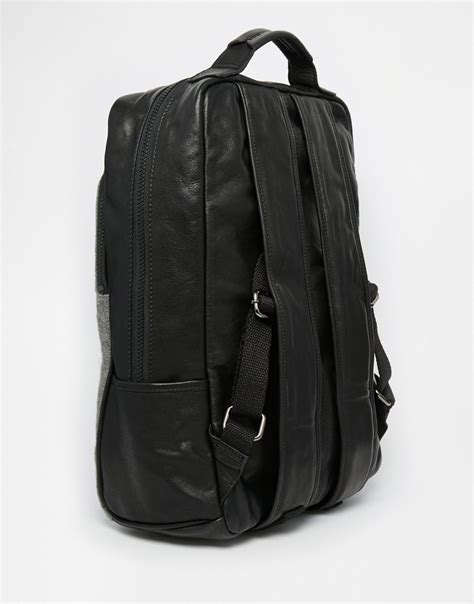 Asos Leather Backpack In Black asos leather backpack in black with grey melton panel in