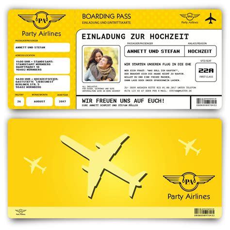 Hochzeitseinladung Als Ticket by Hochzeitseinladungen Als Flugticket In Gelb Bestellen