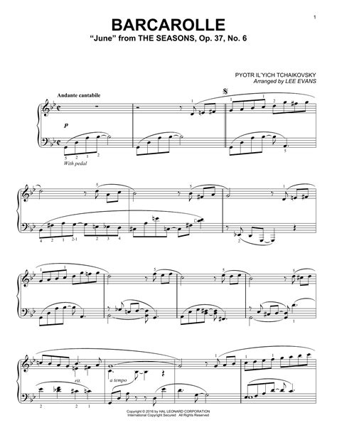 barcarolle tchaikovsky partition piano barcarolle in g minor quot june quot op 37 no