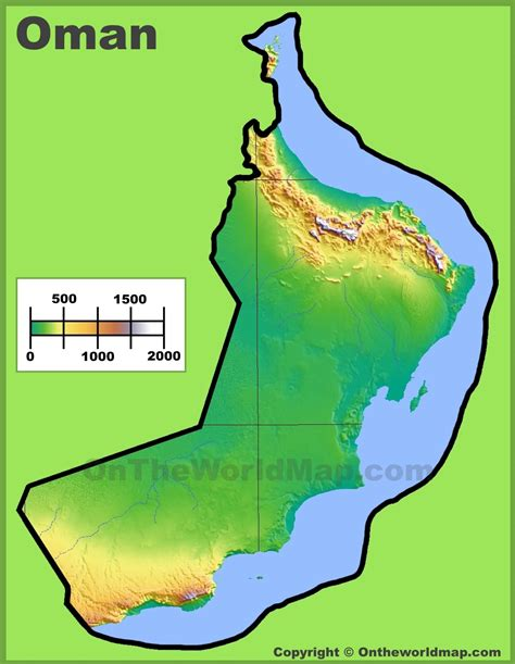 physical map of oman oman physical map