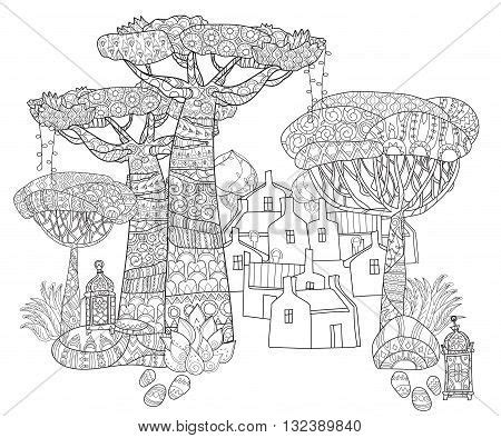doodle house coloring poster doodle outline tropical tree bungalow house
